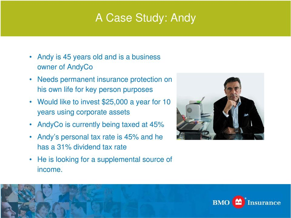 year for 10 years using corporate assets AndyCo is currently being taxed at 45% Andy s