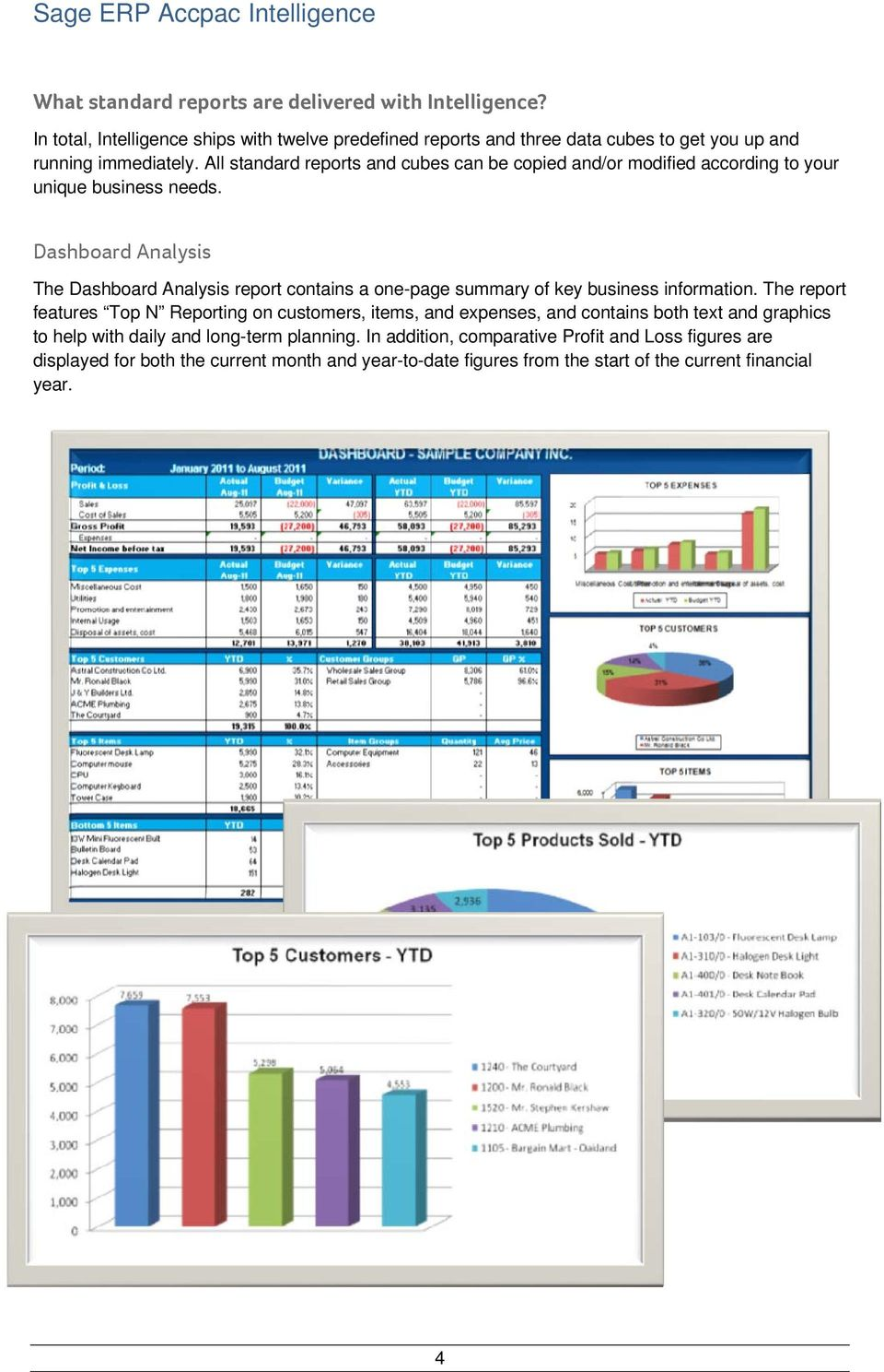 Dashboard Analysis The Dashboard Analysis report contains a one-page summary of key business information.