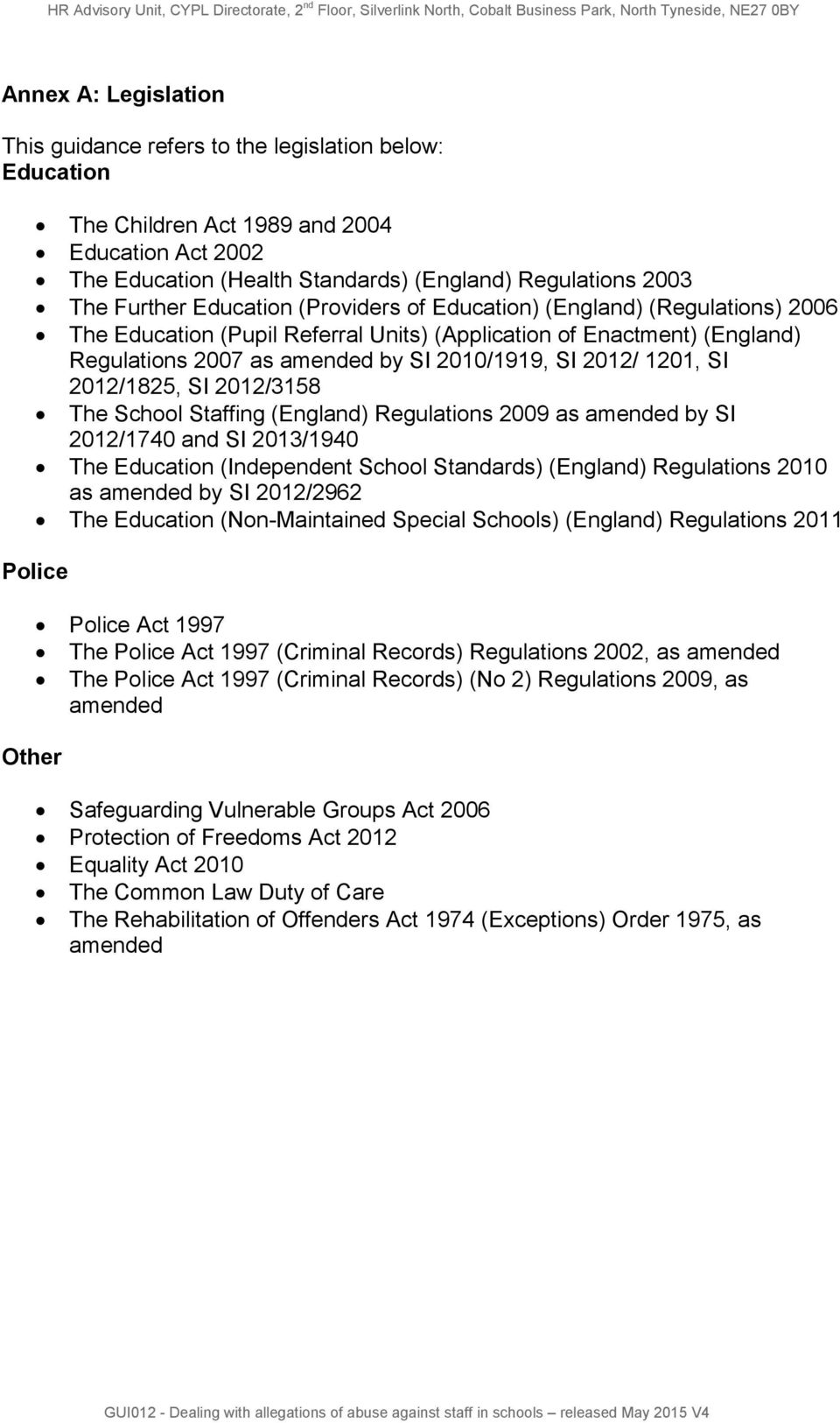 SI 2012/1825, SI 2012/3158 The School Staffing (England) Regulations 2009 as amended by SI 2012/1740 and SI 2013/1940 The Education (Independent School Standards) (England) Regulations 2010 as