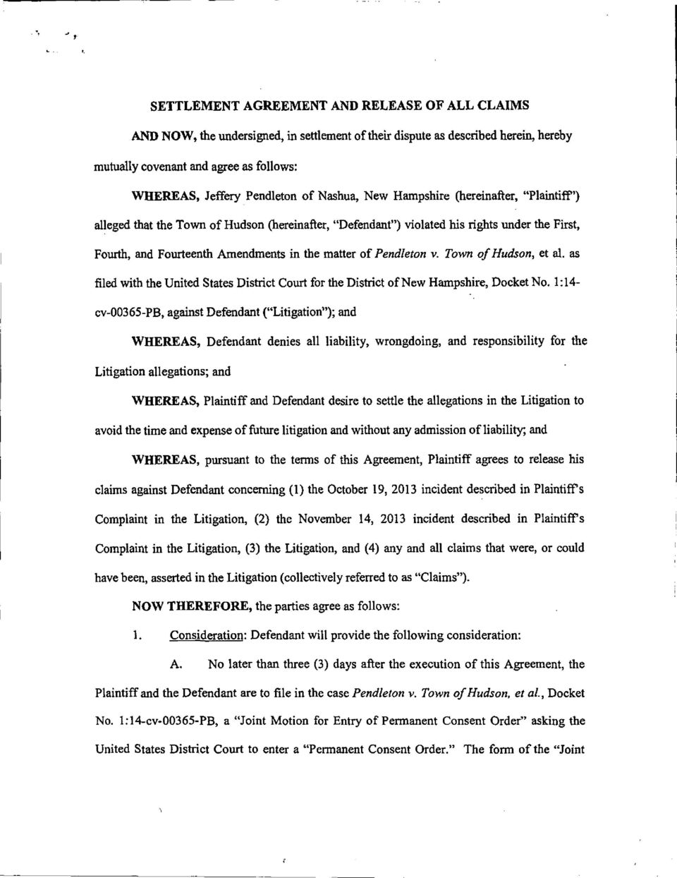 Settlement Agreement And Release Of All Claims Pdf
