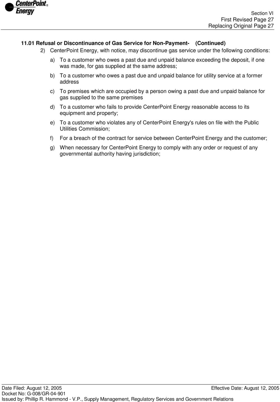 11 00 DISCONTINUANCE OR REFUSAL OF GAS SERVICE - PDF