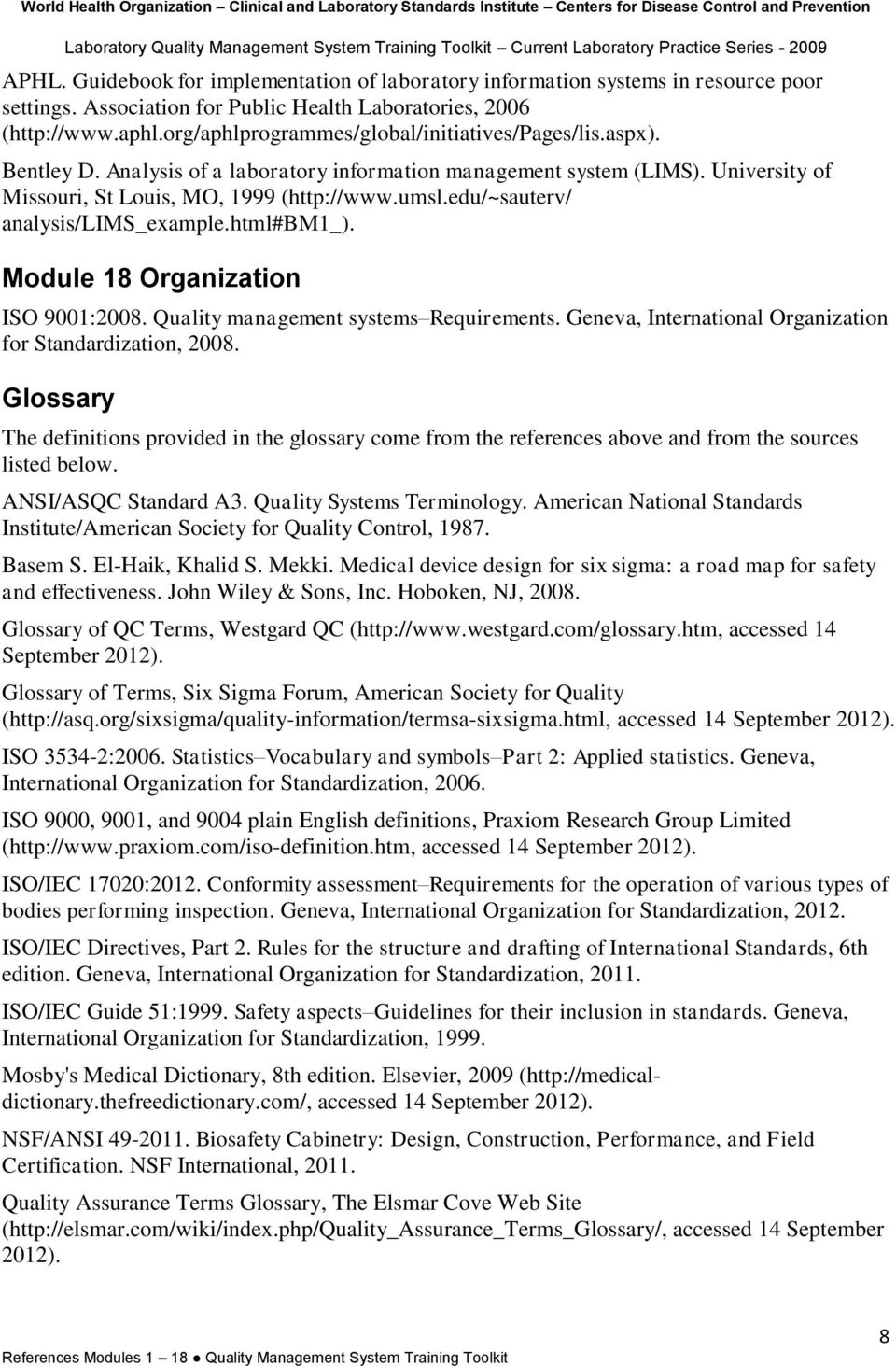 References and resources by module - PDF