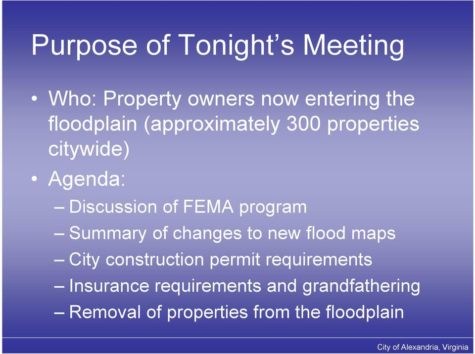 Summary of changes to new flood maps City construction permit requirements
