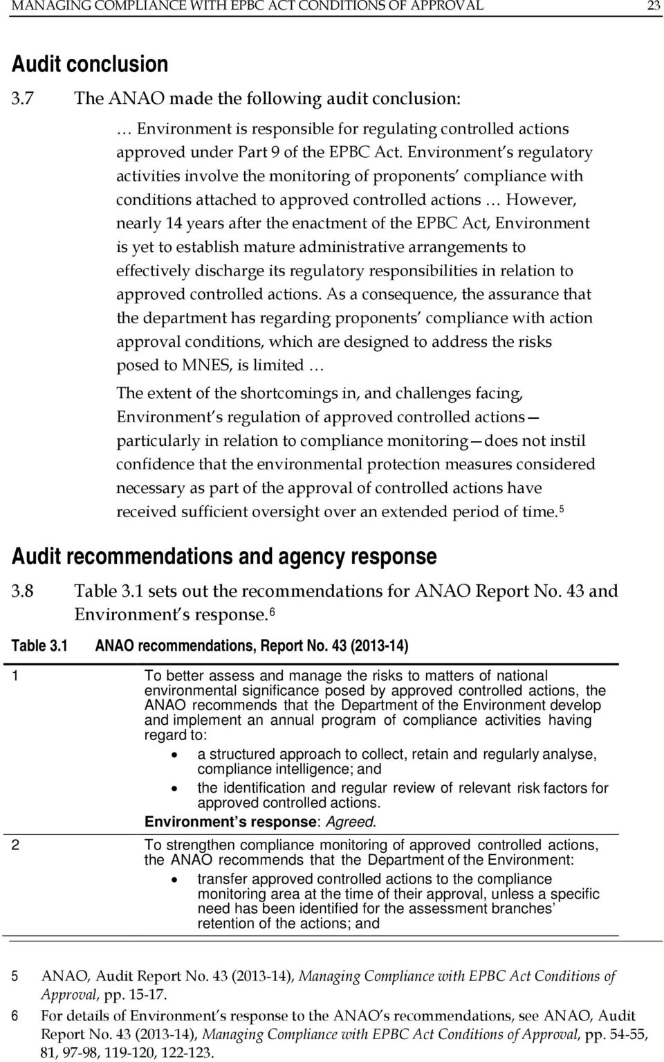 Environment s regulatory activities involve the monitoring of proponents compliance with conditions attached to approved controlled actions However, nearly 14 years after the enactment of the EPBC