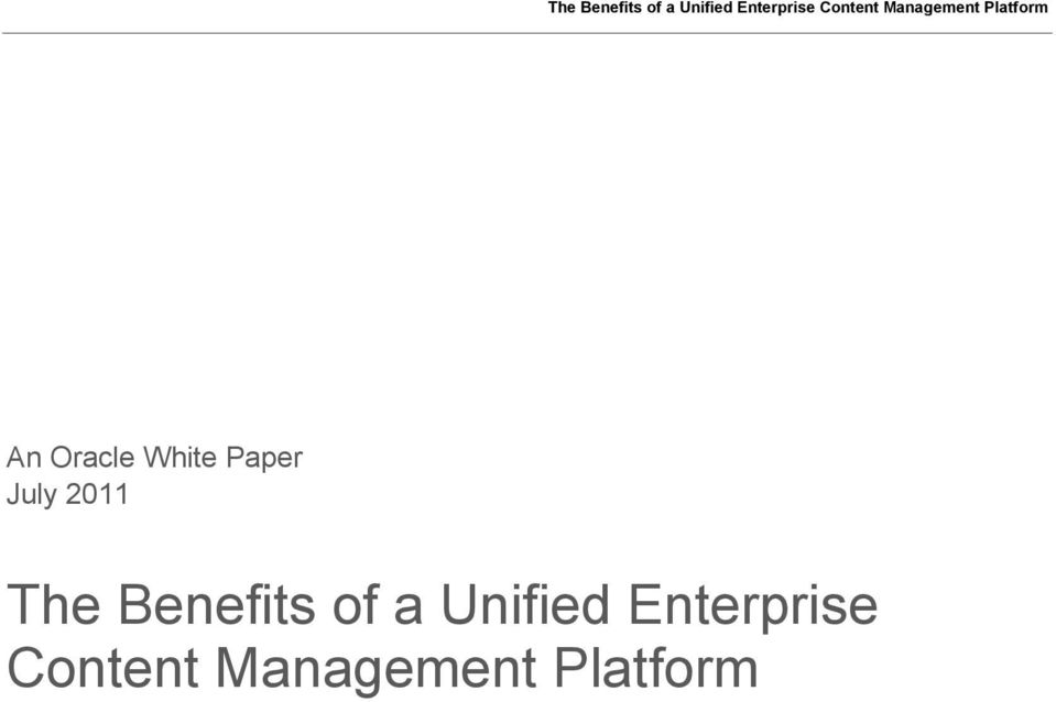of a Unified Enterprise