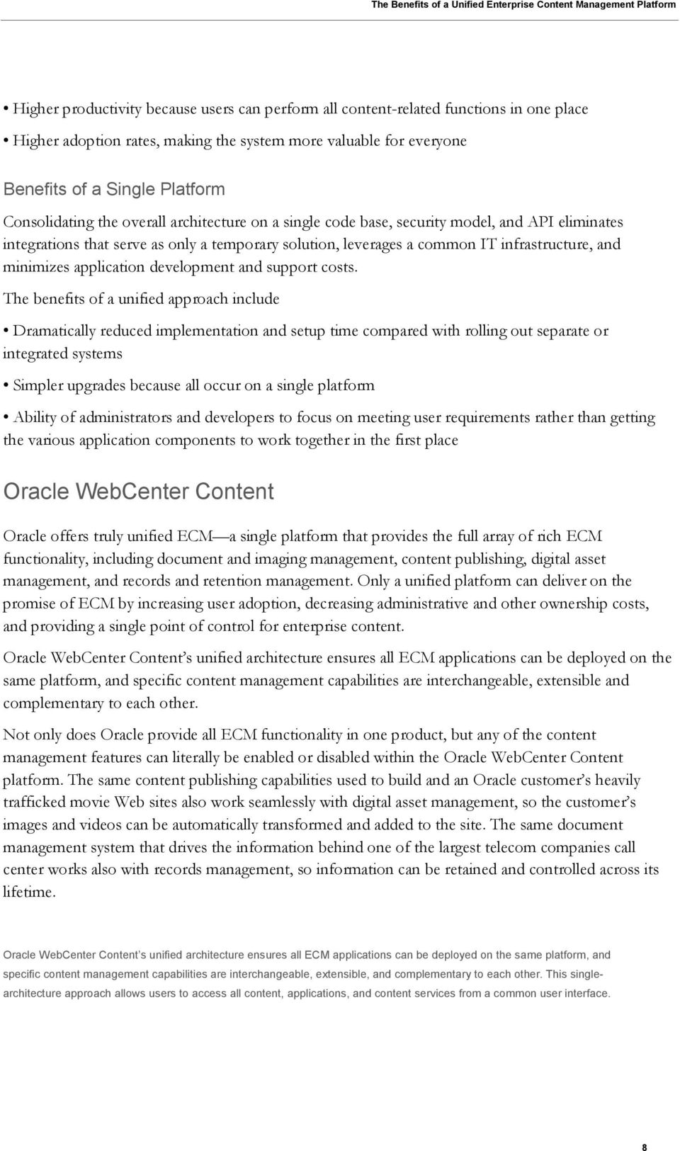 The Benefits Of A Unified Enterprise Content Management Platform Pdf