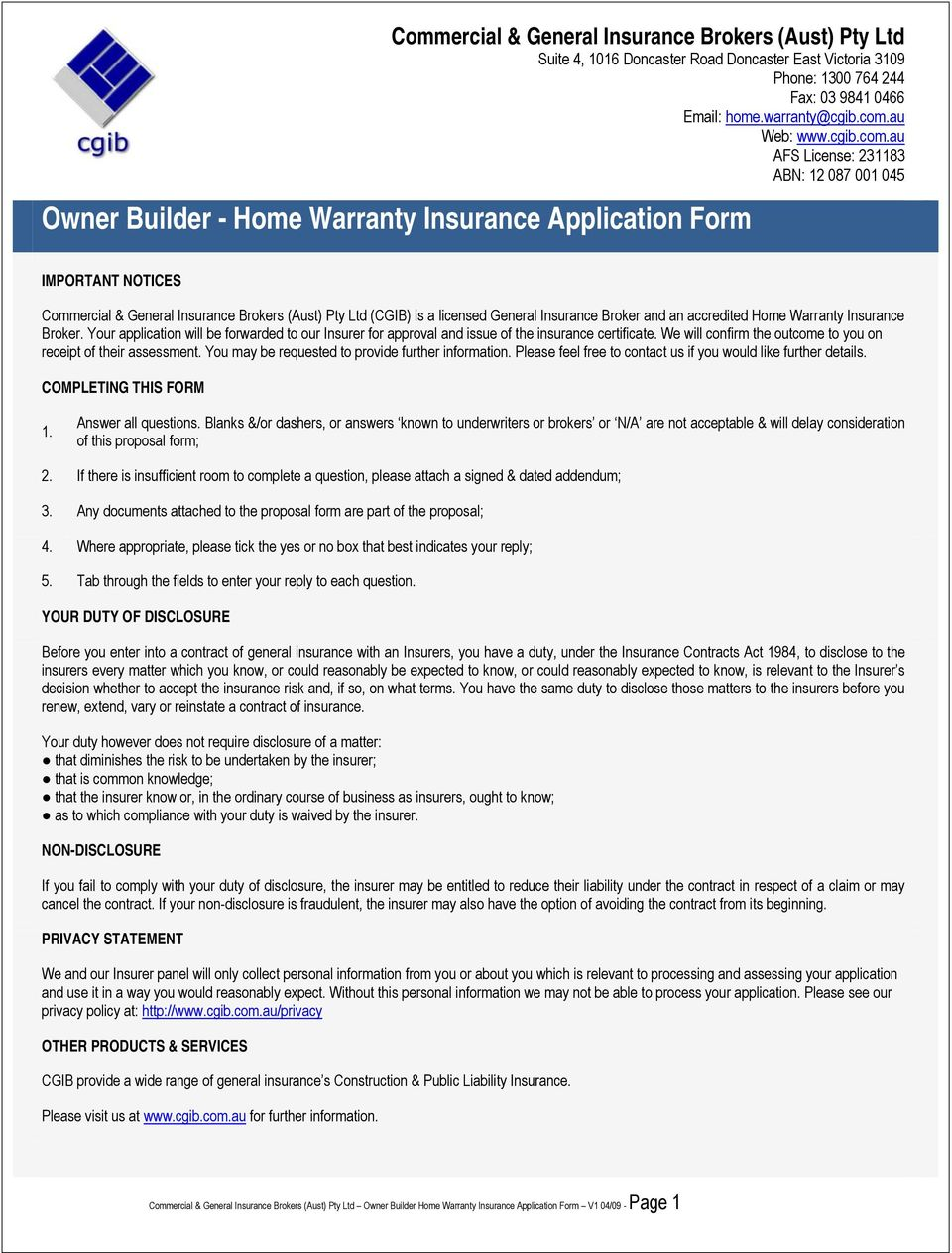 Owner Builder Home Warranty Insurance Application Form