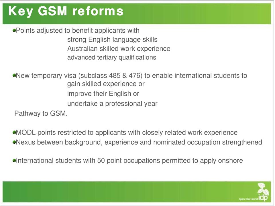 their English or undertake a professional year Pathway to GSM.