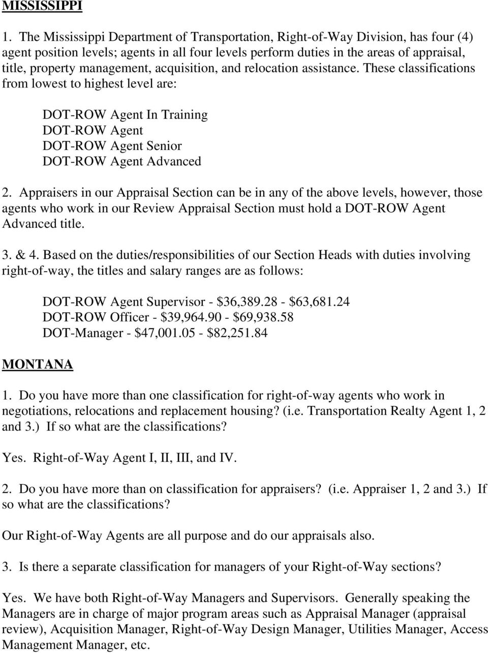 CLASSIFICATION AND SALARY RANGES RIGHT-OF-WAY PERSONNEL - PDF