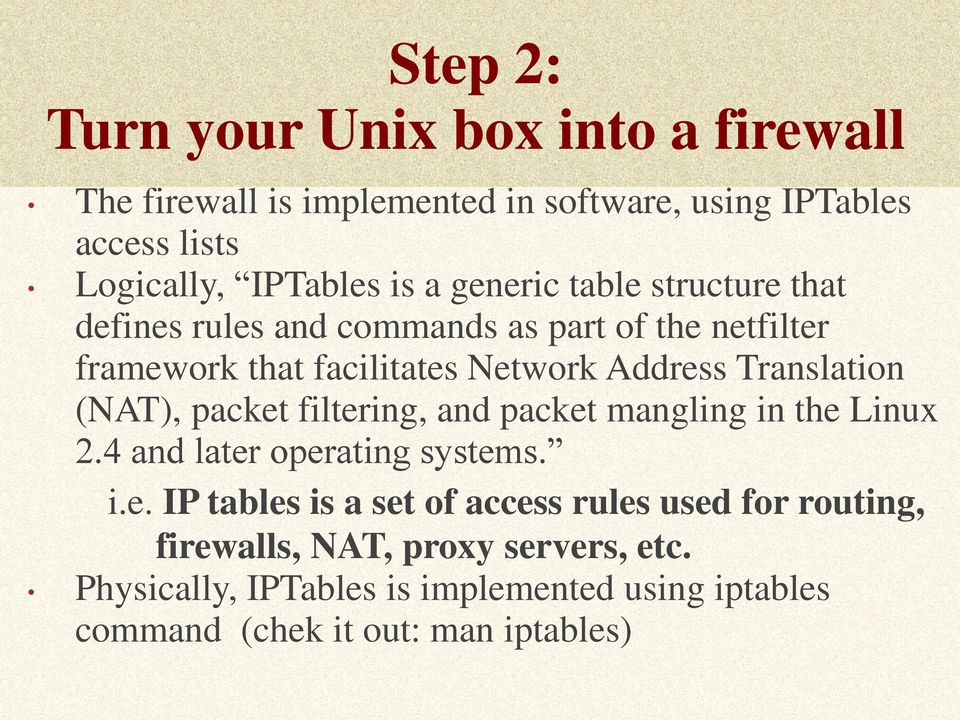 How to Turn a Unix Computer into a Router and Firewall Using