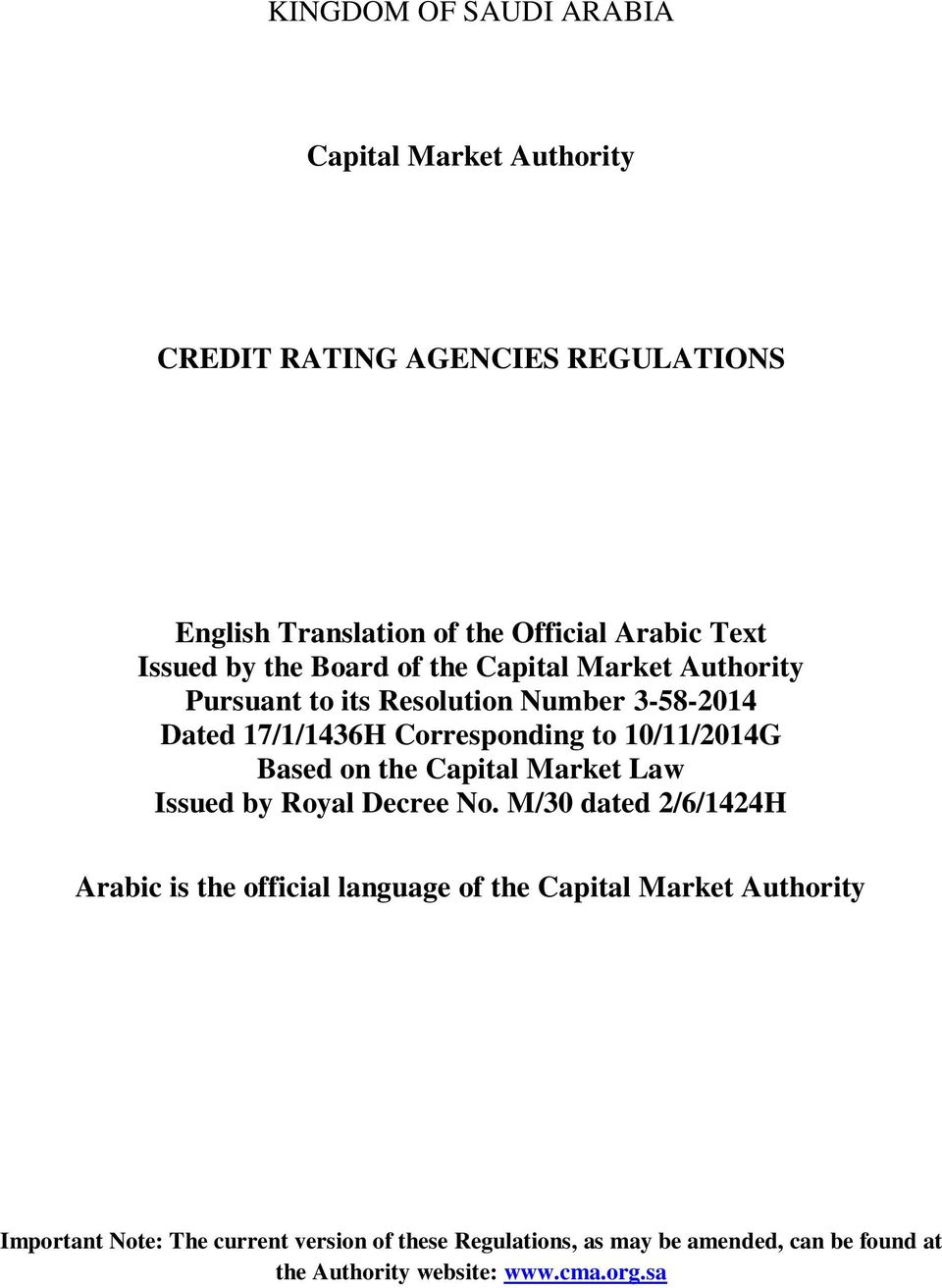 10/11/2014G Based on the Capital Market Law Issued by Royal Decree No.