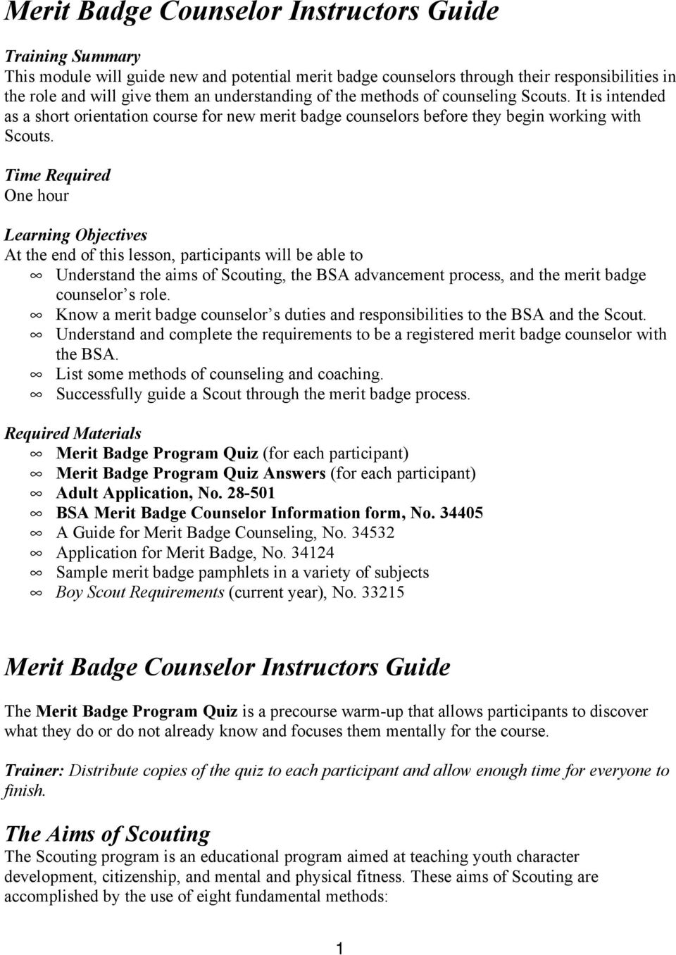 Merit Badge Counselor Instructors Guide Pdf