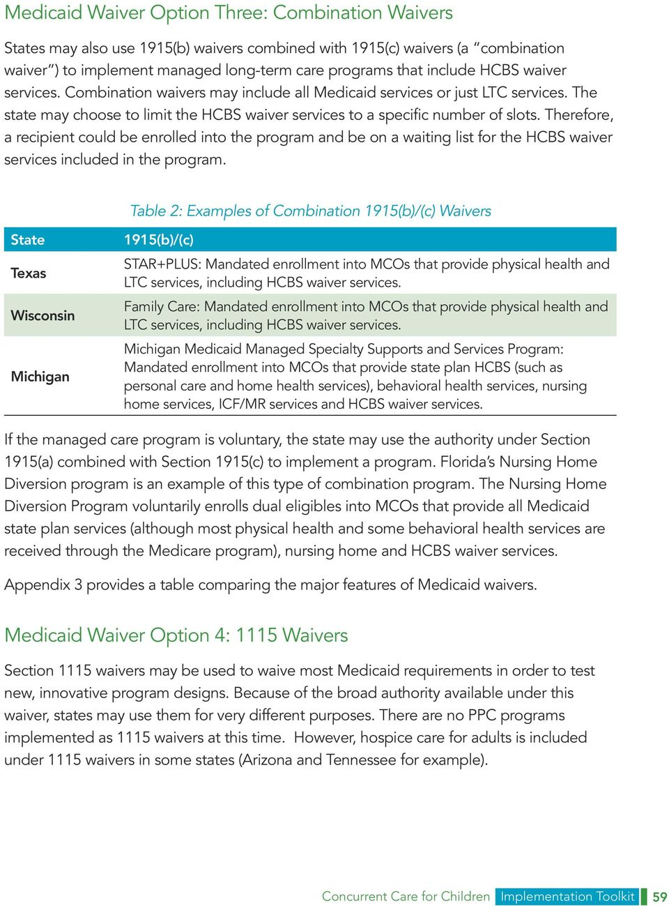 Appendix 4: SPA and Waiver Options to Enhance Concurrent Care