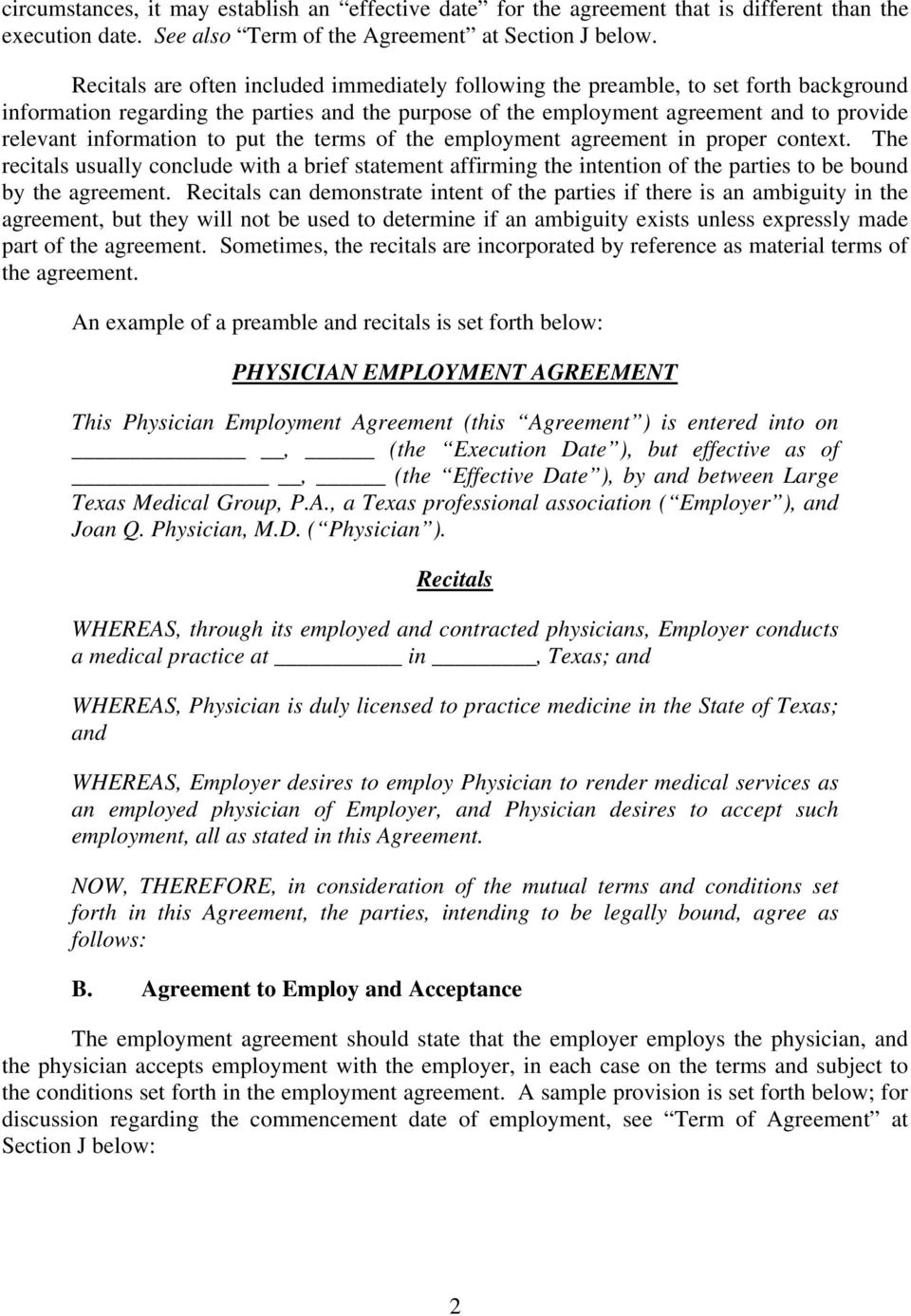 Physician Employment Agreements Pdf