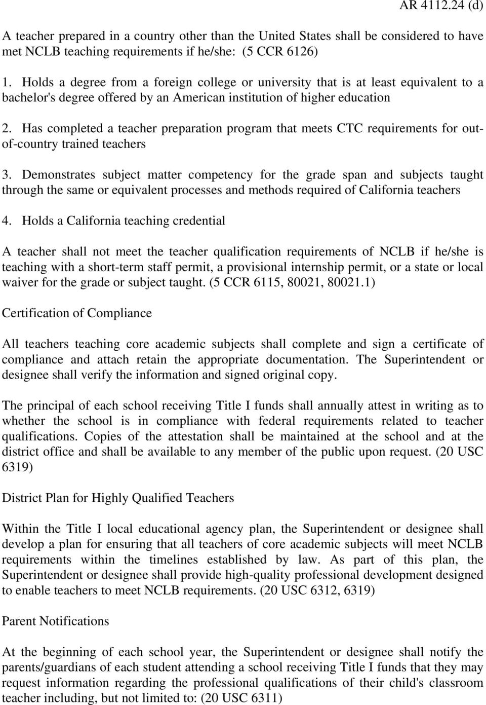 Personnel Teacher Qualifications Under The No Child Left Behind Act