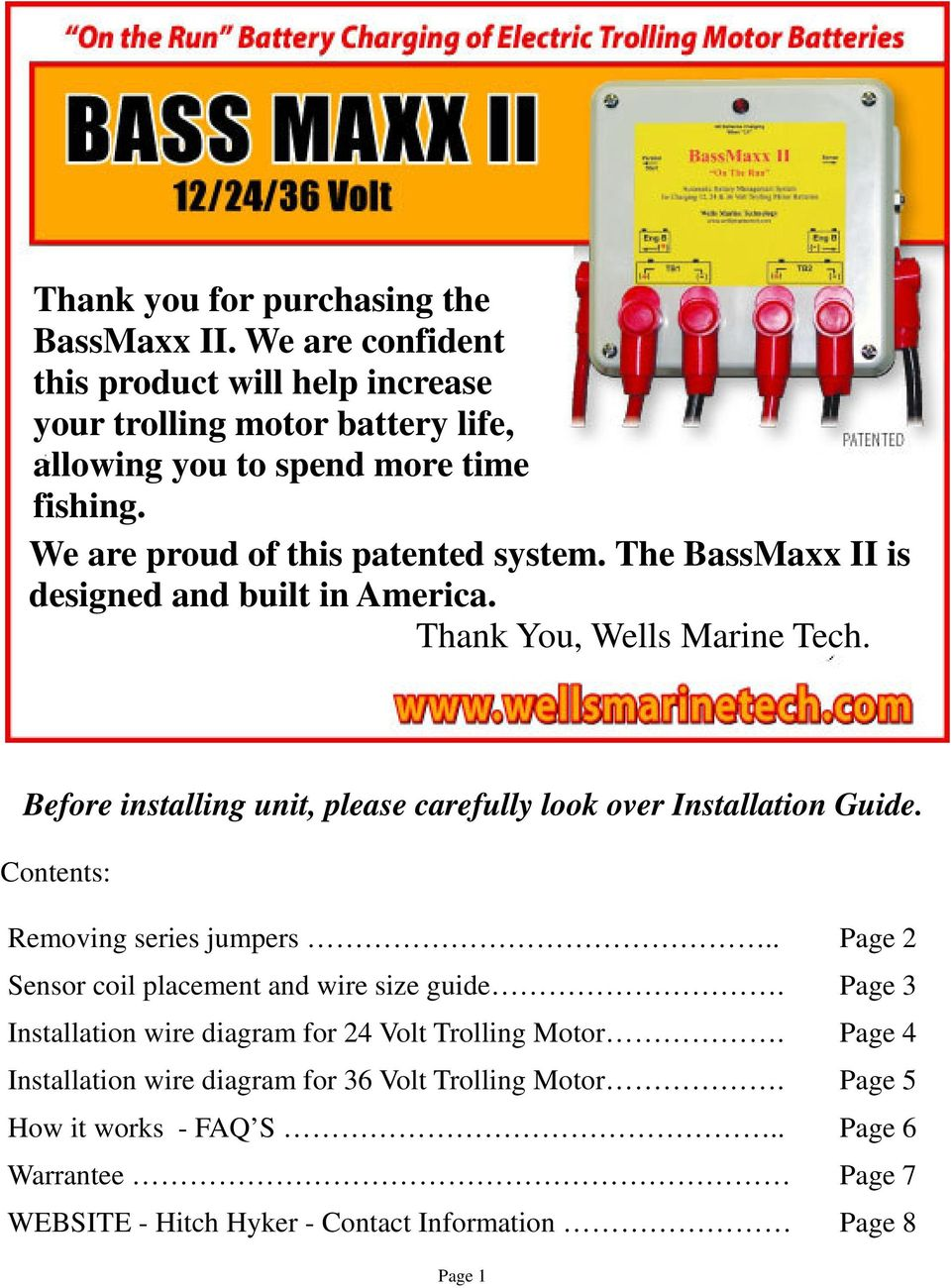 Before Installing Unit Please Carefully Look Over Installation Trolling Motor Battery Wiring Diagram Guide Contents Removing Series Jumpers