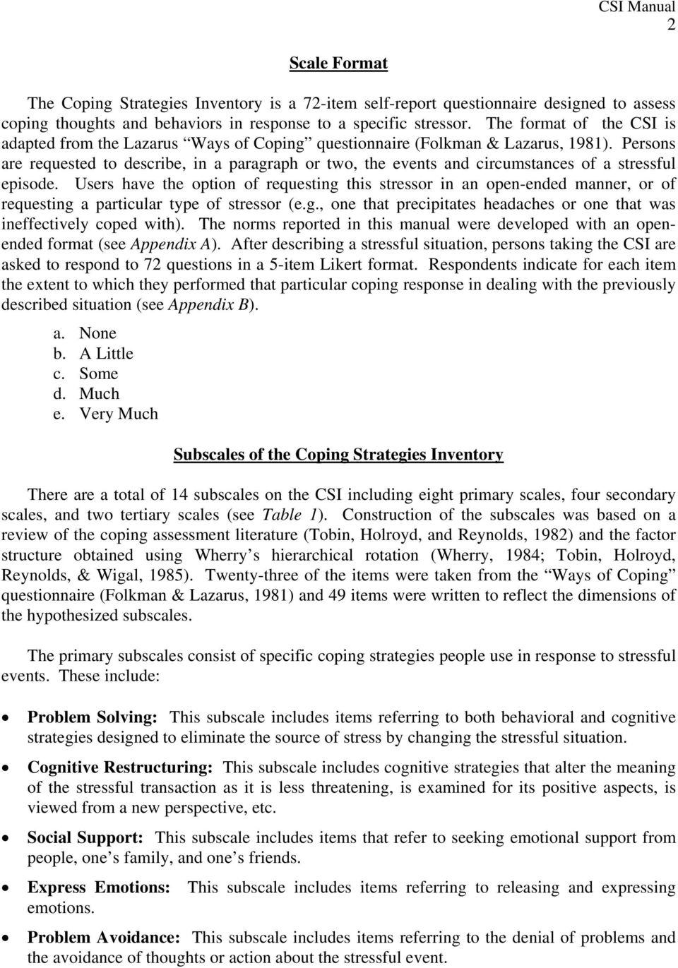 User Manual for the COPING STRATEGIES INVENTORY - PDF