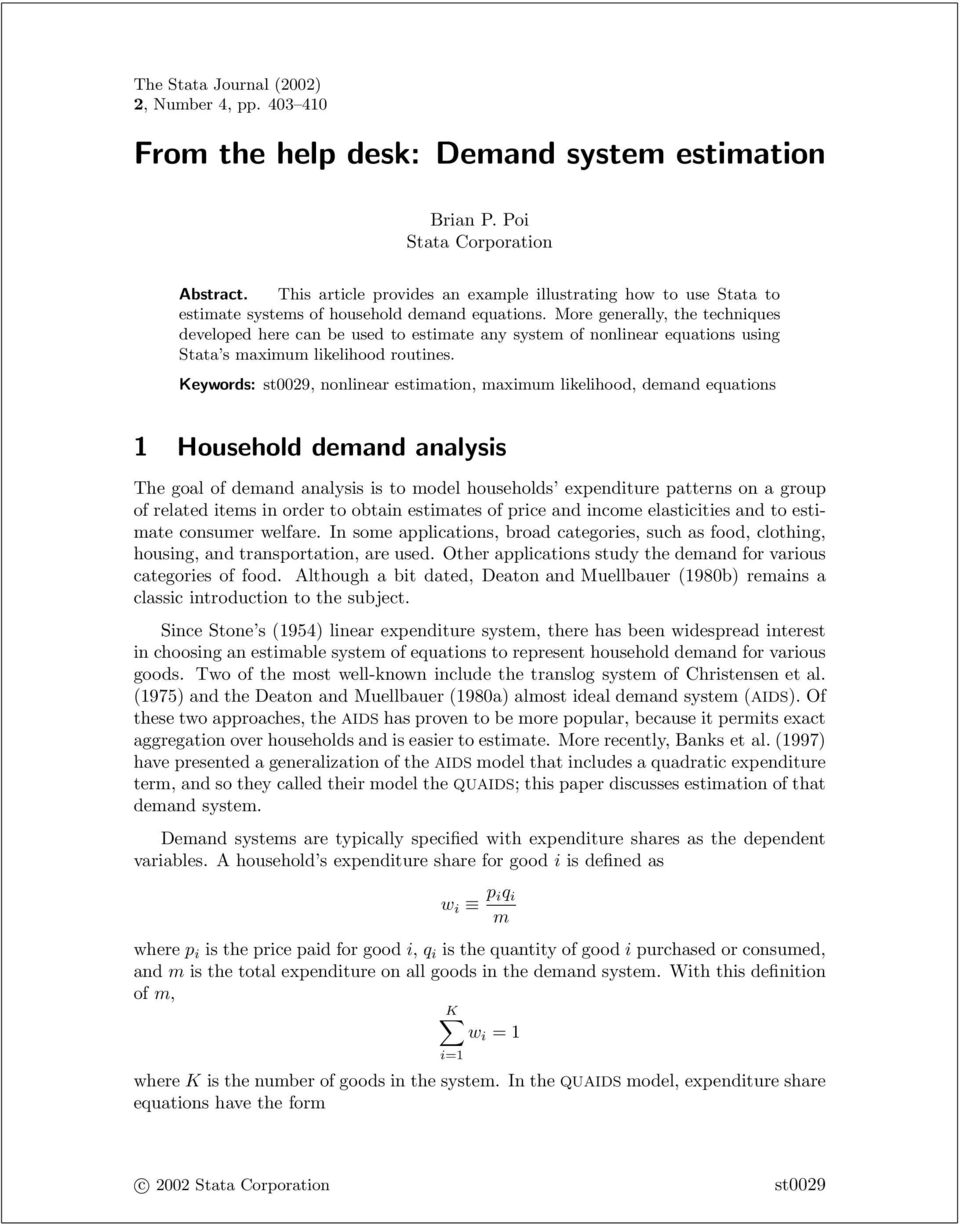 From the help desk: Demand system estimation - PDF