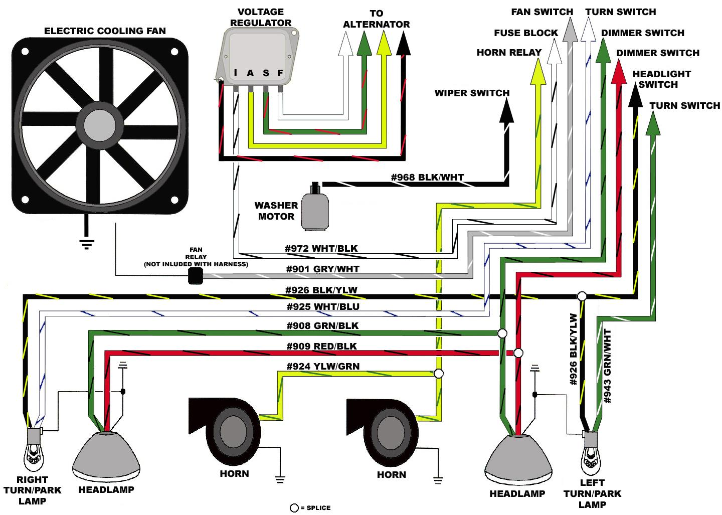 Wire Harness Installation Instructions Pdf Fig Back Of Typical Alternator Illustrating Wiring Figure 8 Headlight Section B With The Wires Routed Over