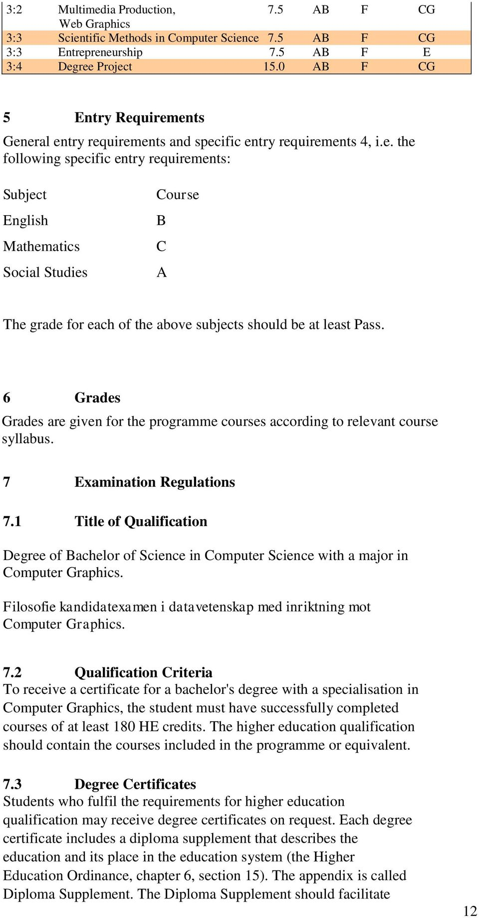 6 Grades Grades are given for the programme courses according to relevant course syllabus. 7 Examination Regulations 7.