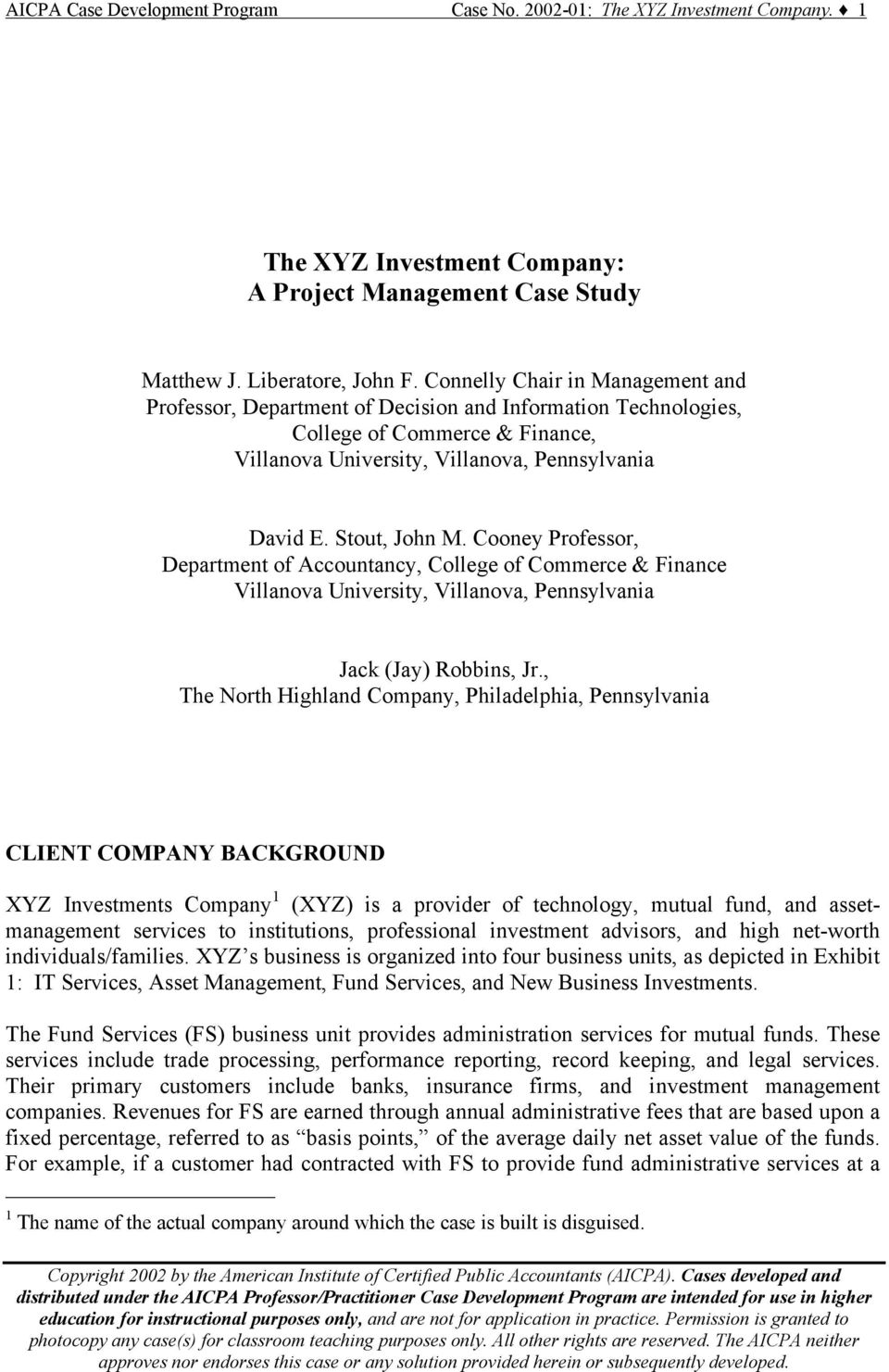The Xyz Investment Company A Project Management Case Study Pdf