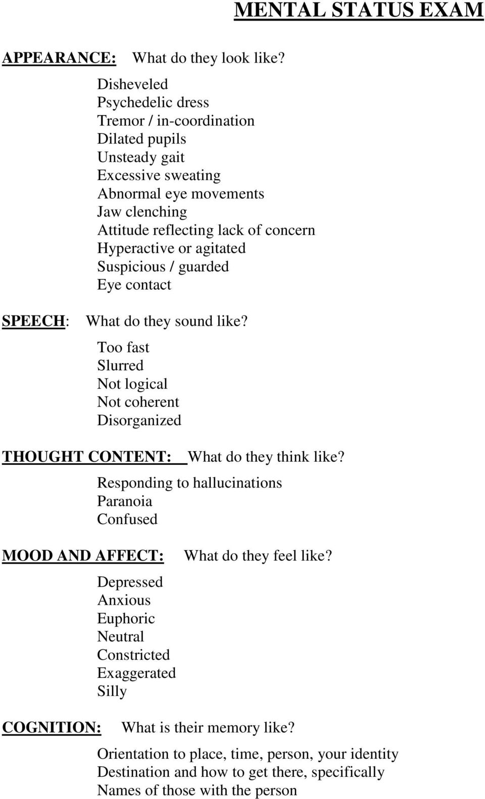 Hyperactive or agitated Suspicious / guarded Eye contact MENTAL STATUS EXAM SPEECH: What do they sound like?