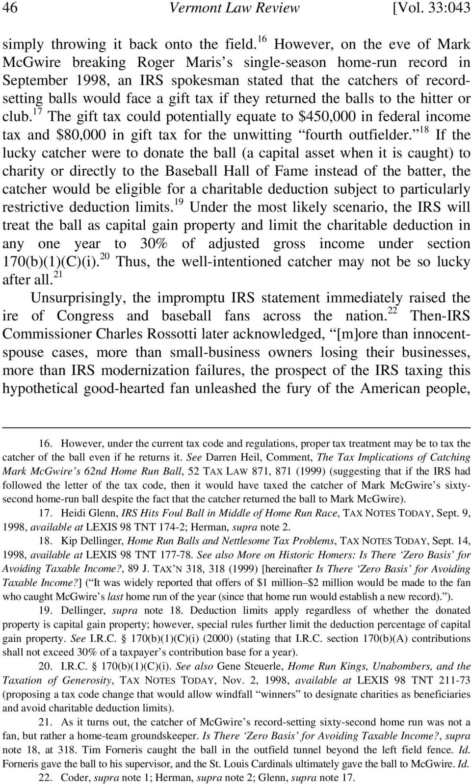 BALL BUSTERS: HOW THE IRS SHOULD TAX RECORD- SETTING BASEBALLS AND ...