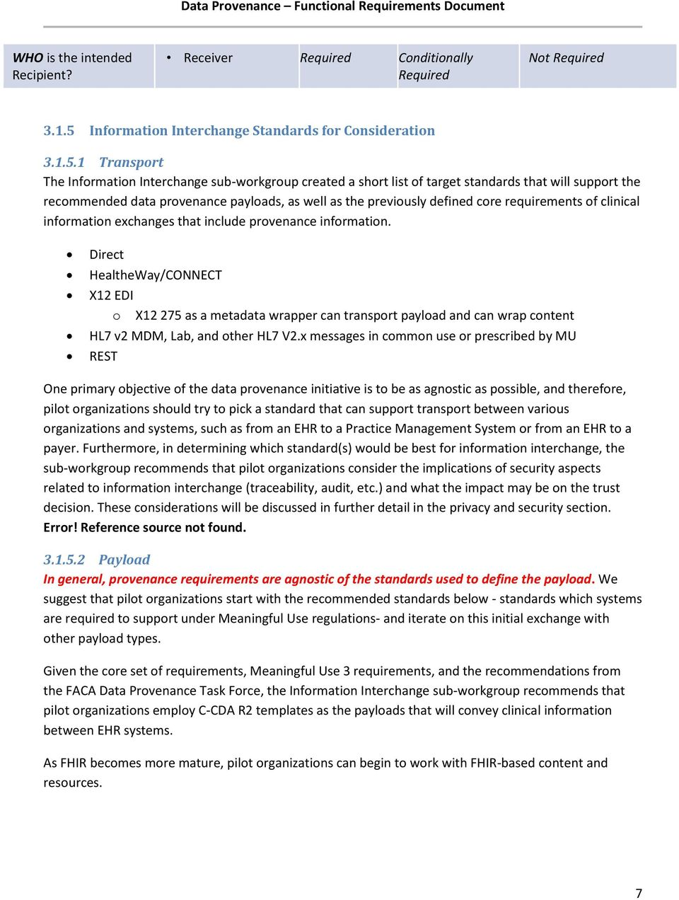 1 Transport The Information Interchange sub-workgroup created a short list of target standards that will support the recommended data provenance payloads, as well as the previously defined core