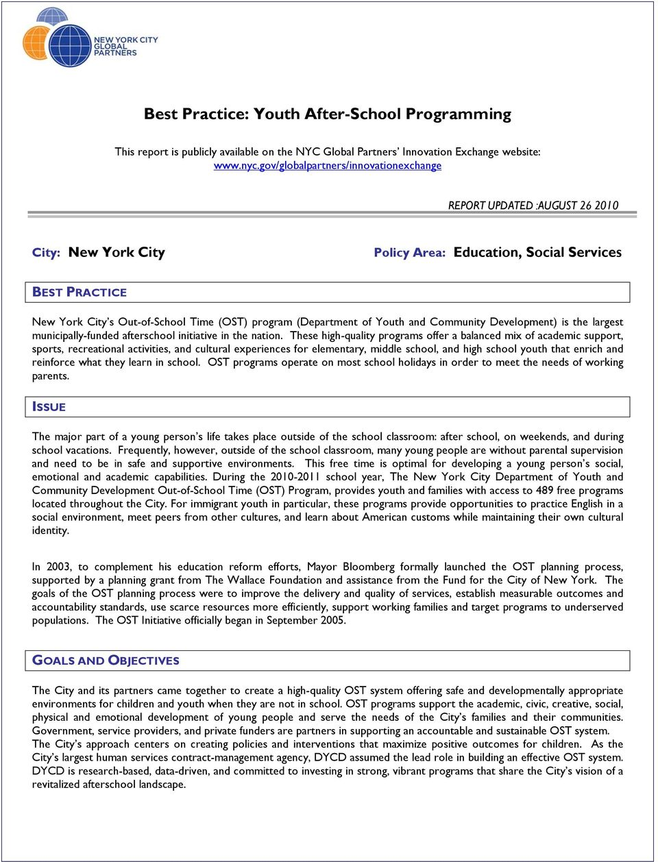 Best Practice: Youth After-School Programming - PDF