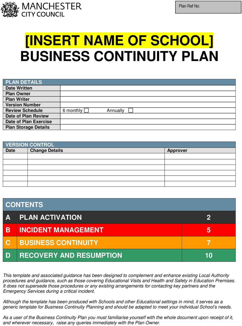 Insert name of school business continuity plan pdf associated guidance has been designed to complement and enhance existing local authority procedures and guidance accmission Image collections