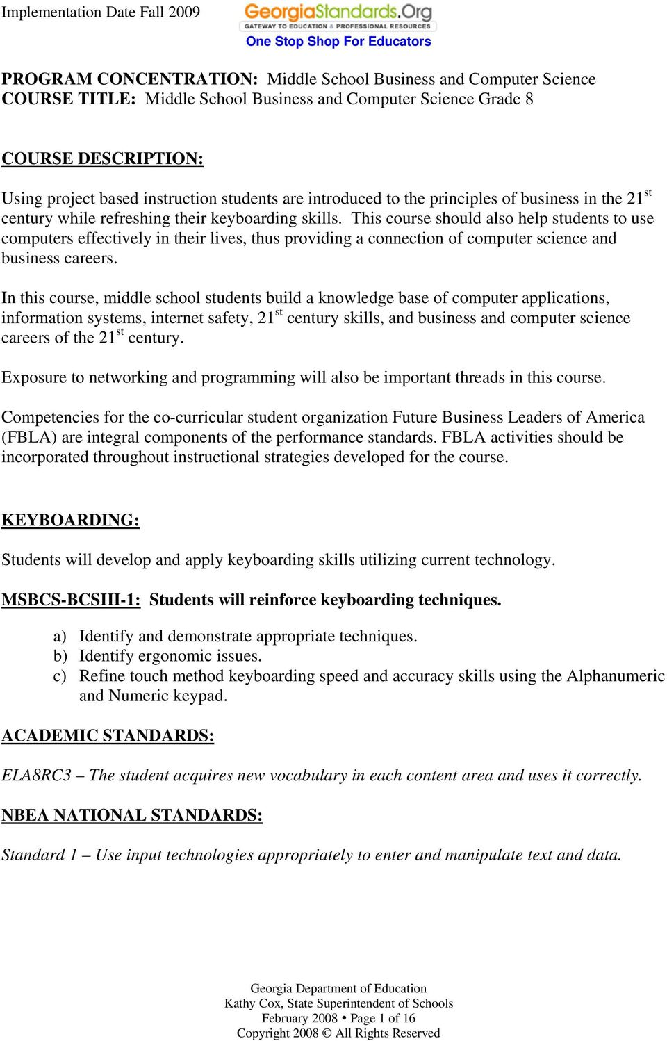 PROGRAM CONCENTRATION: Middle School Business and Computer Science