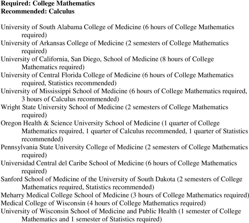 Statistics University of Mississippi School of Medicine (6 hours of College Mathematics required, 3 hours of Calculus Wright State University School of Medicine (2 semesters of College Mathematics
