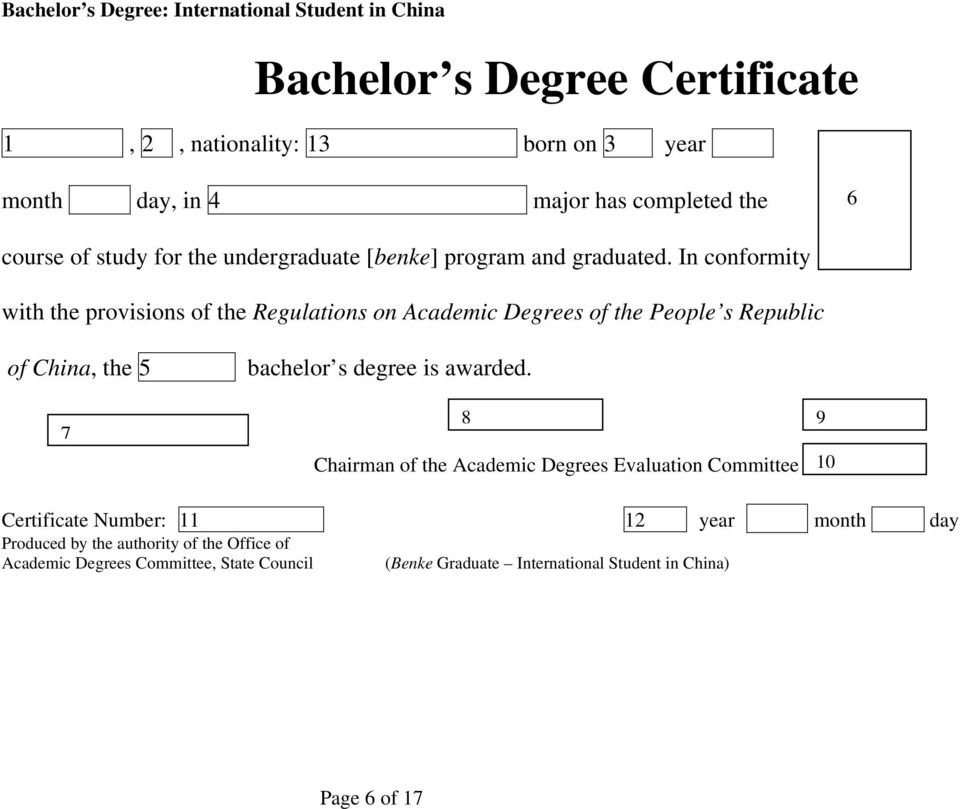 New Degree Certificate Format, People s Republic of China - PDF