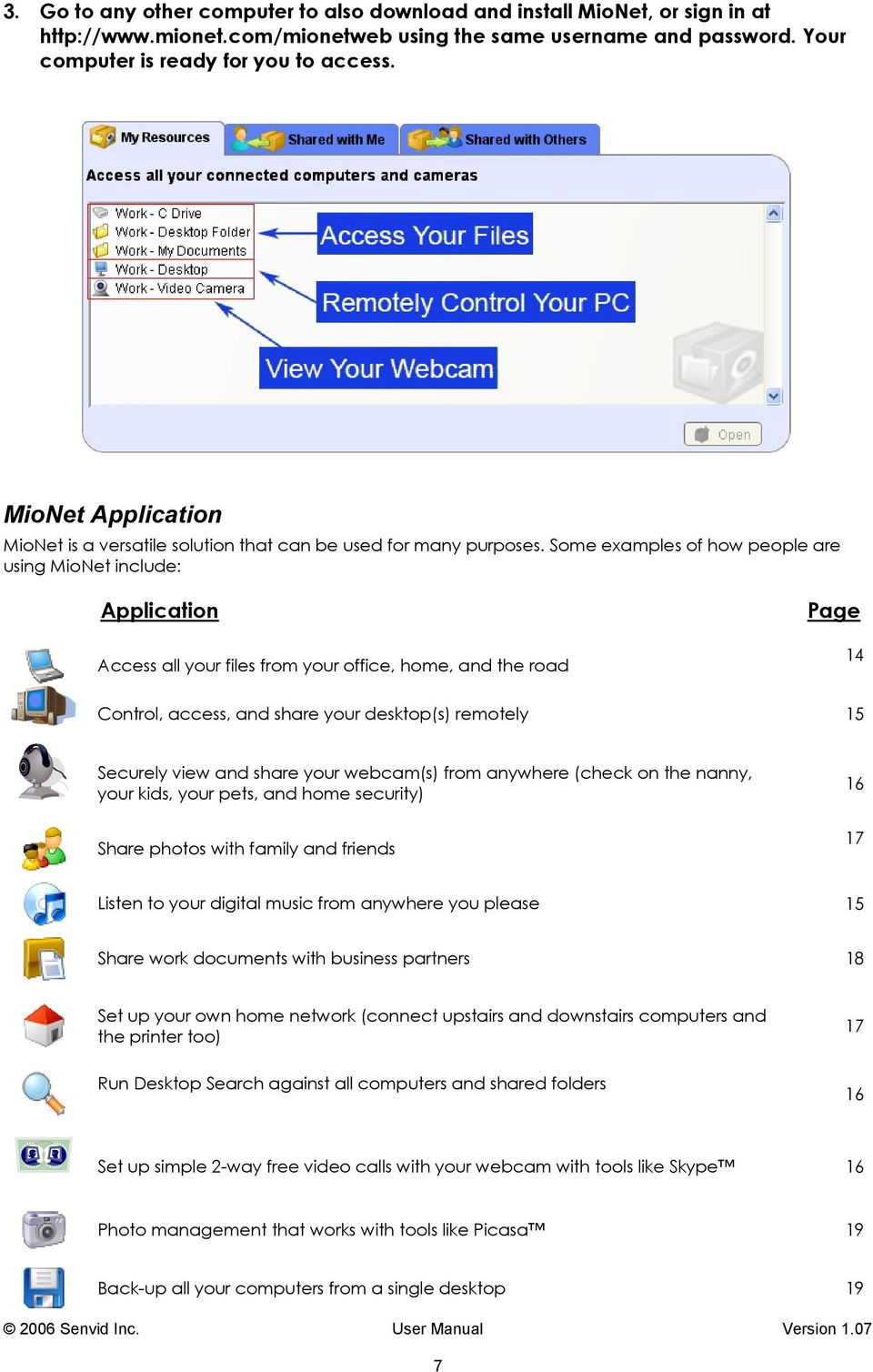 Some examples of how people are using MioNet include: Application Access all your files from your office, home, and the road Page 14 Control, access, and share your desktop(s) remotely 15 Securely
