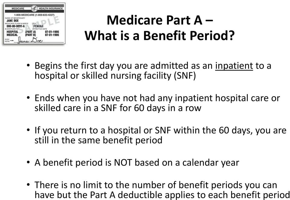 had any inpatient hospital care or skilled care in a SNF for 60 days in a row If you return to a hospital or SNF within the 60