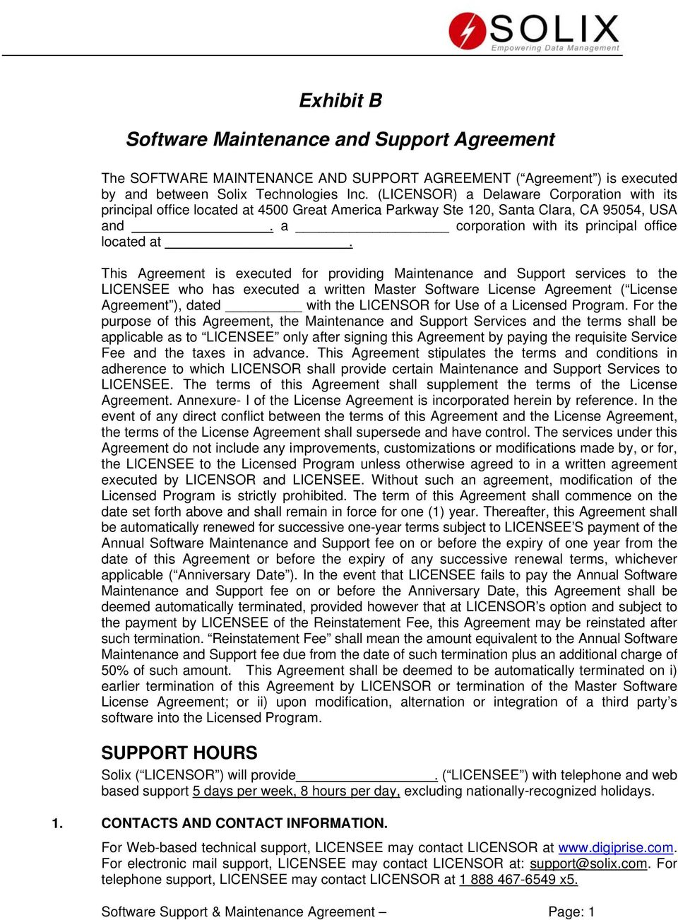 Exhibit B Software Maintenance And Support Agreement Pdf