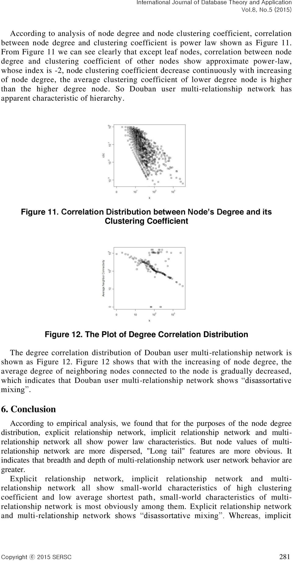 coefficient decrease continuously with increasing of node degree, the average clustering coefficient of lower degree node is higher than the higher degree node.