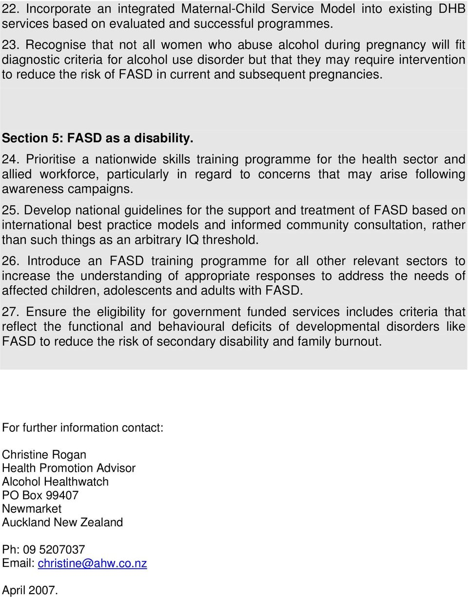 subsequent pregnancies. Section 5: FASD as a disability. 24.