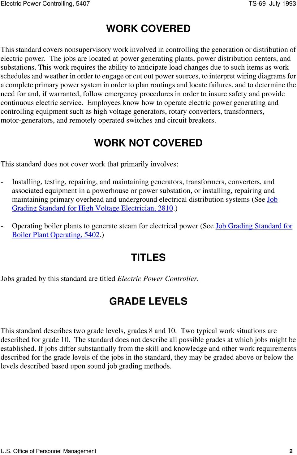 Federal Wage System Job Grading Standards For Electric Power Underground Wiring Diagram This Work Requires The Ability To Anticipate Load Changes Due Such Items As Schedules