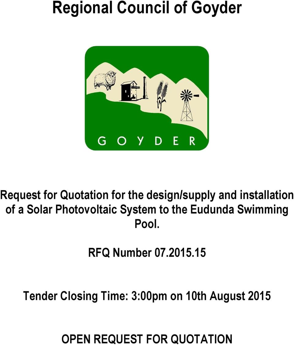 to the Eudunda Swimming Pool. RFQ Number 07.2015.