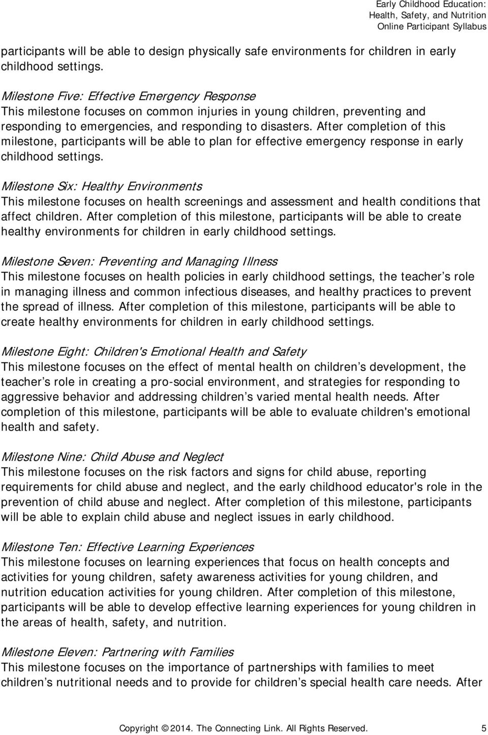 Early Childhood Education Health Safety And Nutrition Pdf