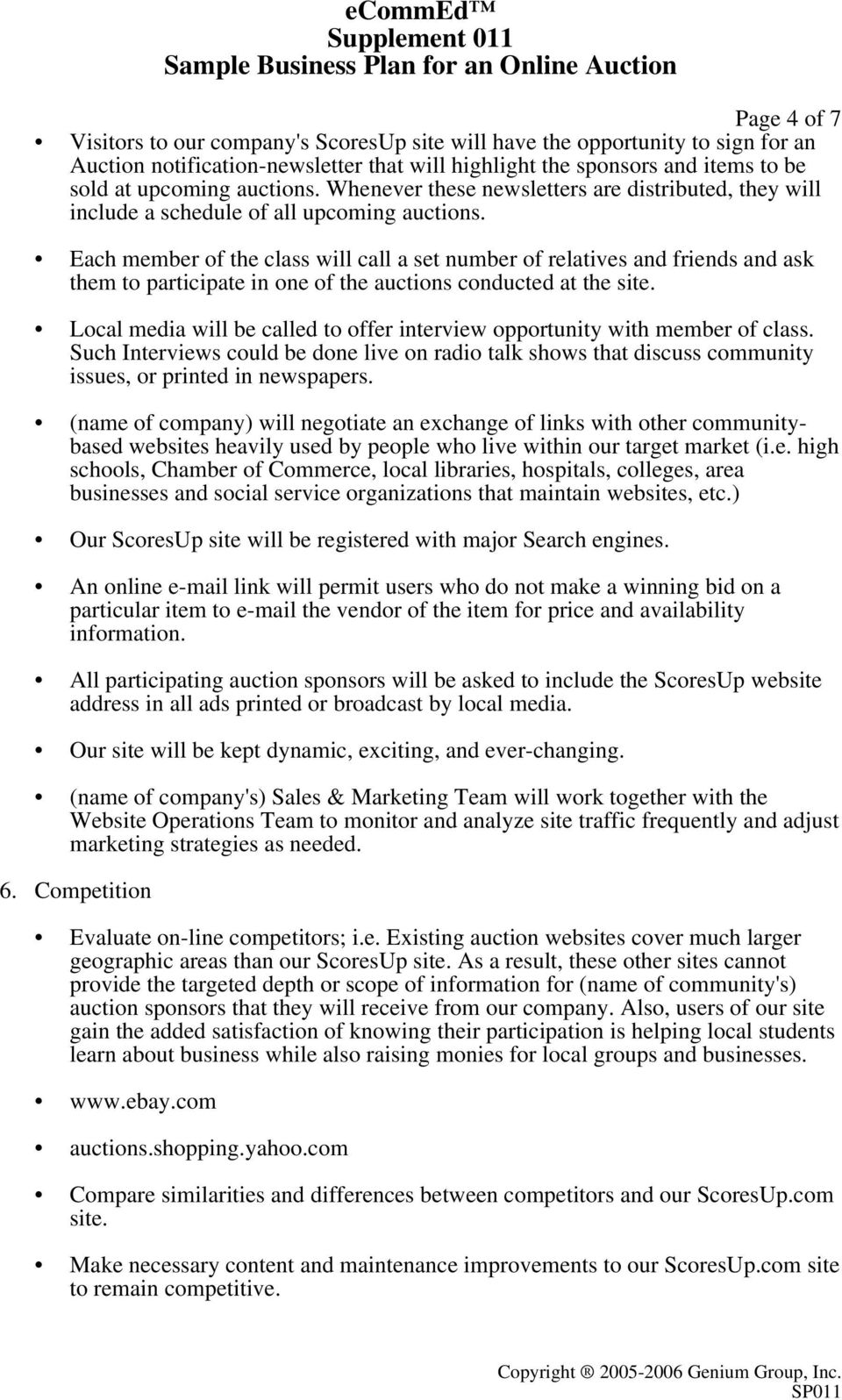 Ecommed Supplement 011 Sample Business Plan For An Online Auction Pdf Free Download