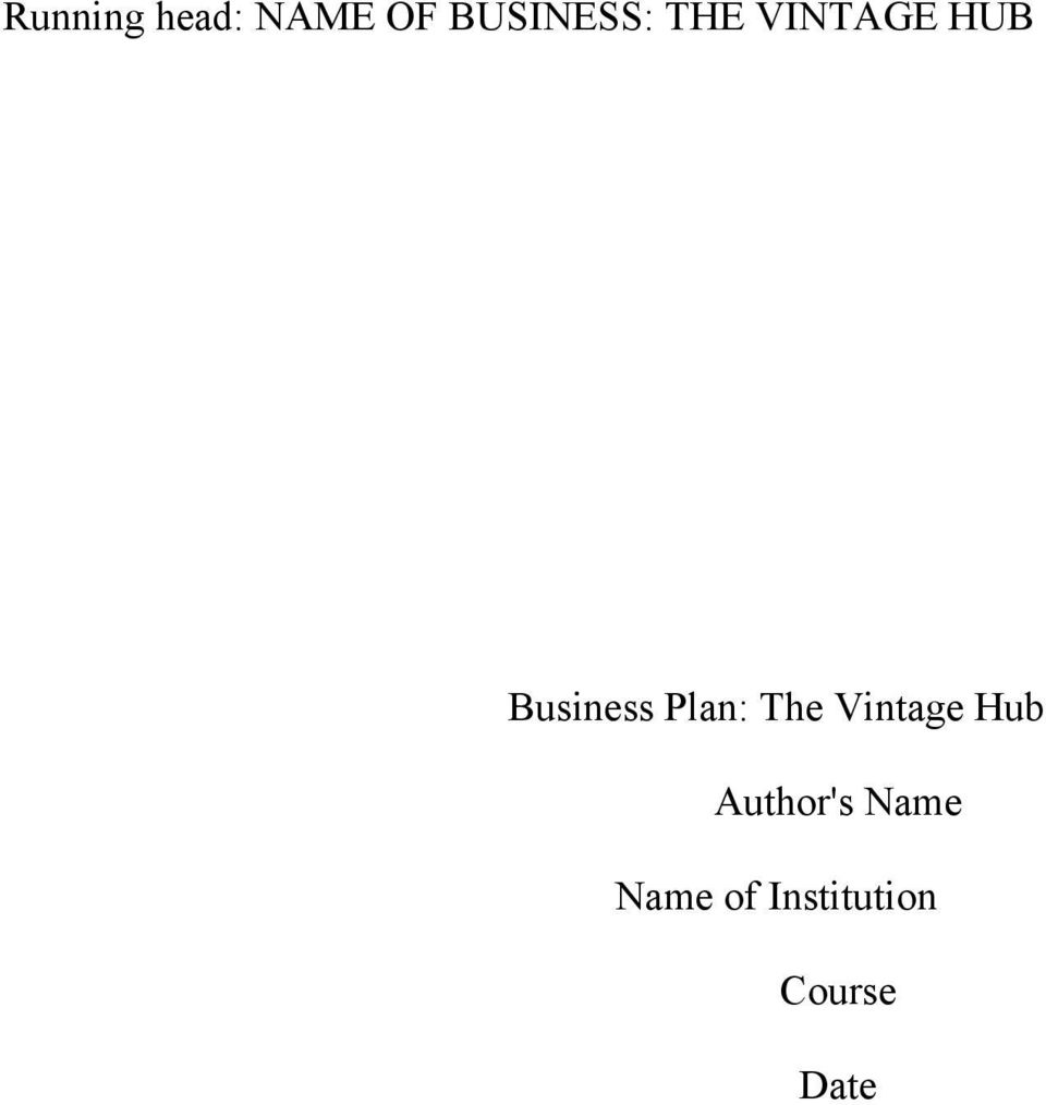Business Plan: The Vintage Hub