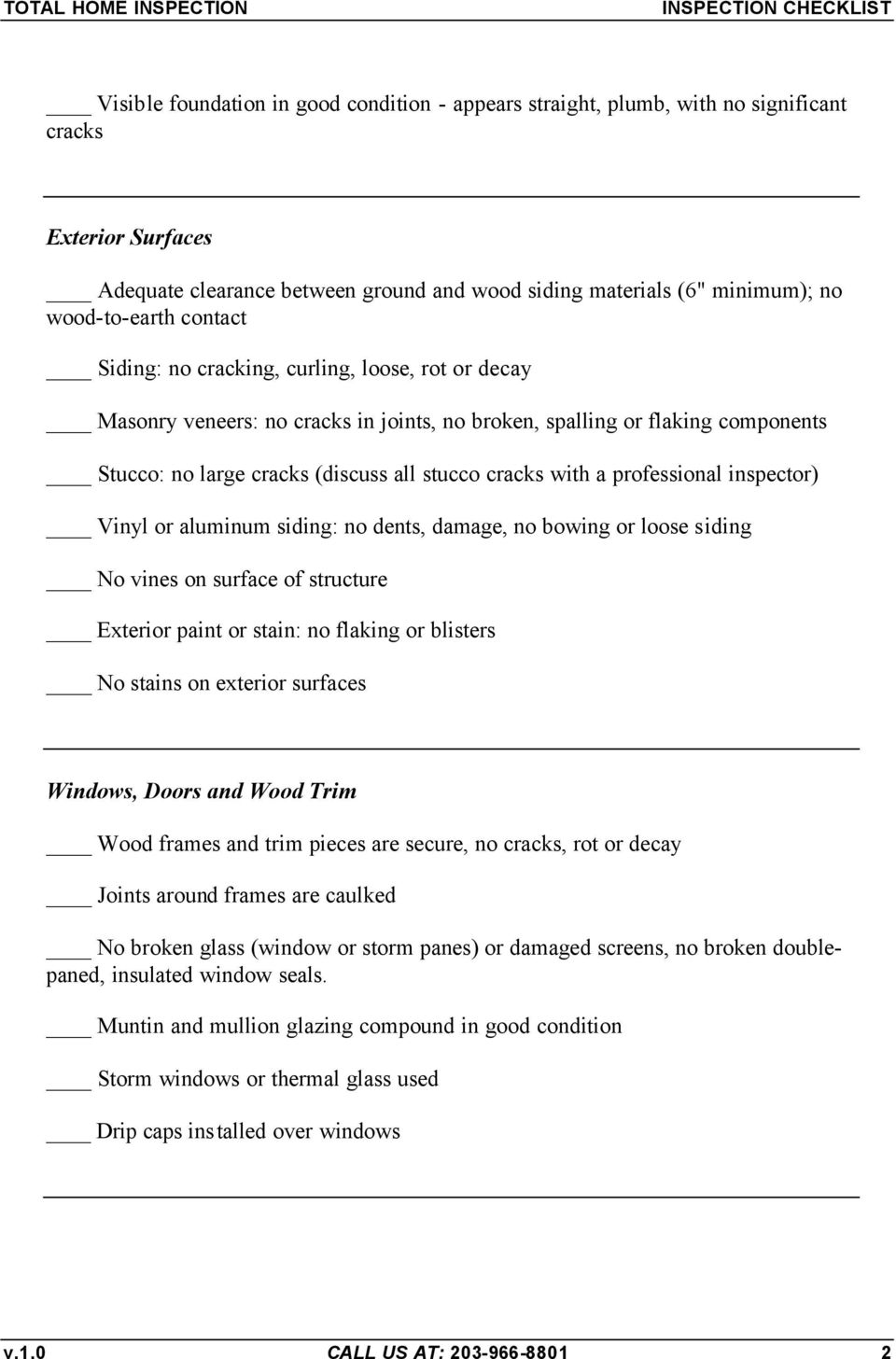 Total Home Inspection Checklist - PDF