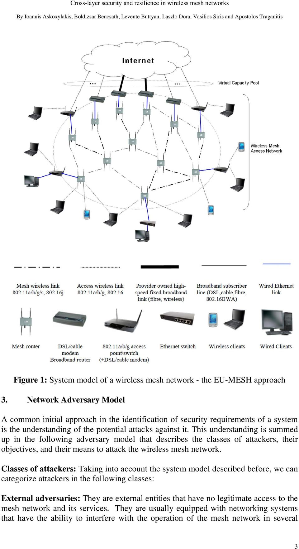 This understanding is summed up in the following adversary model that describes the classes of attackers, their objectives, and their means to attack the wireless mesh network.