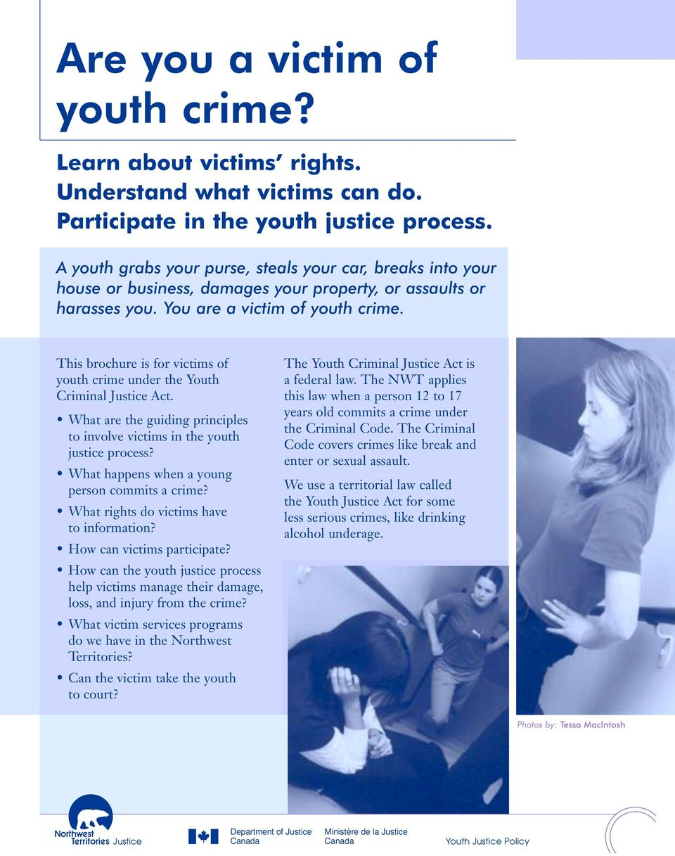 This brochure is for victims of youth crime under the Youth Criminal Justice Act. What are the guiding principles to involve victims in the youth justice process?