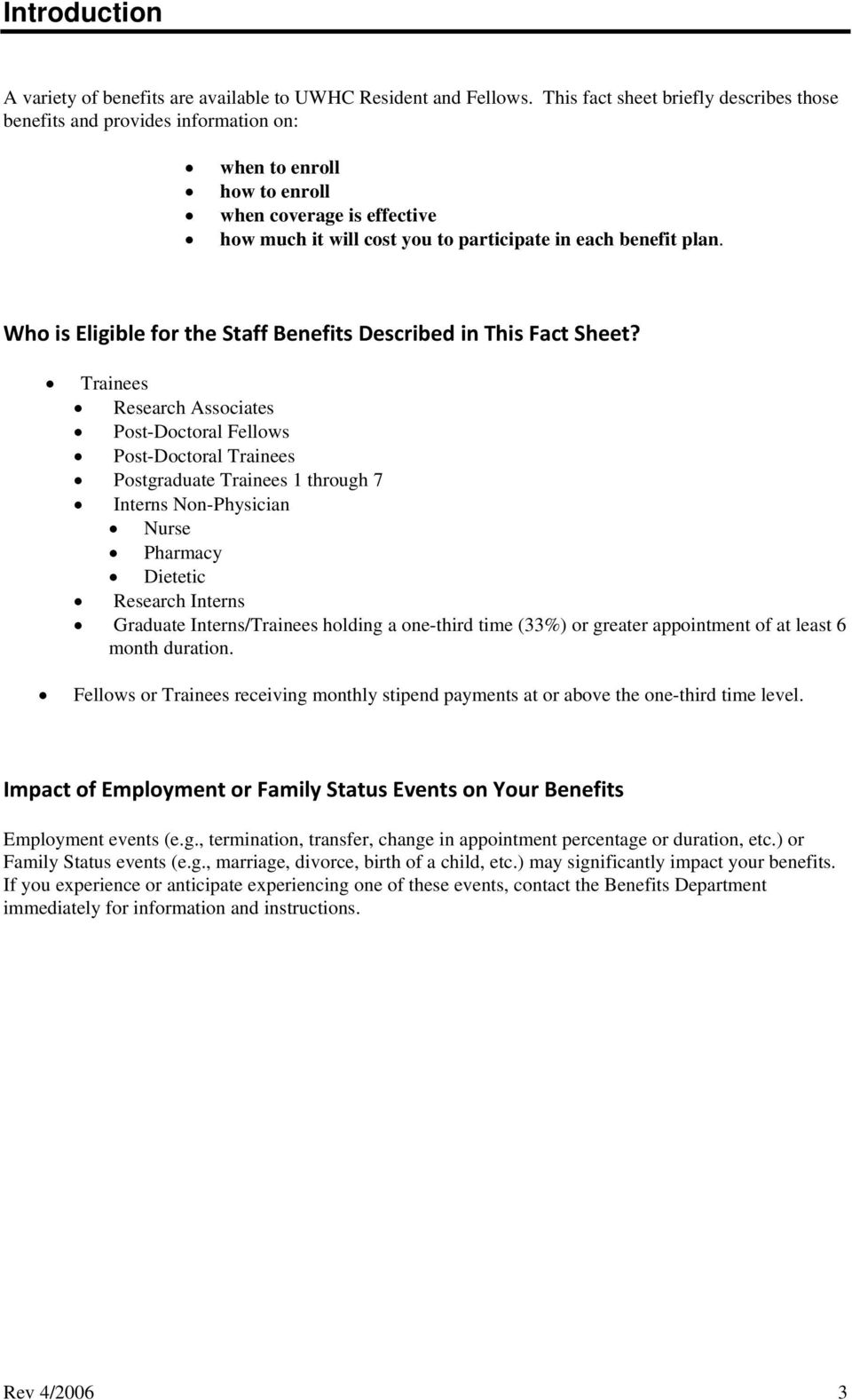Who is Eligible for the Staff Benefits Described in This Fact Sheet?