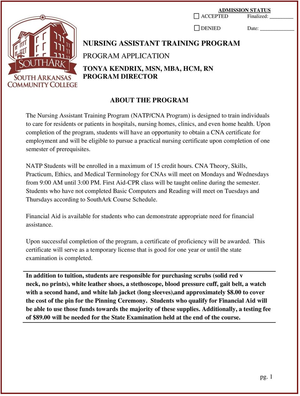 Nursing Assistant Training Program Program Application Pdf