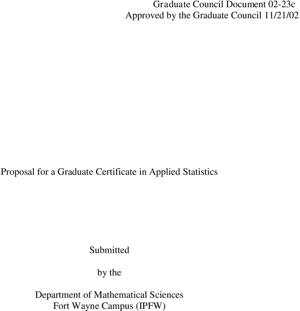 Certificate in Applied Statistics Submitted by the