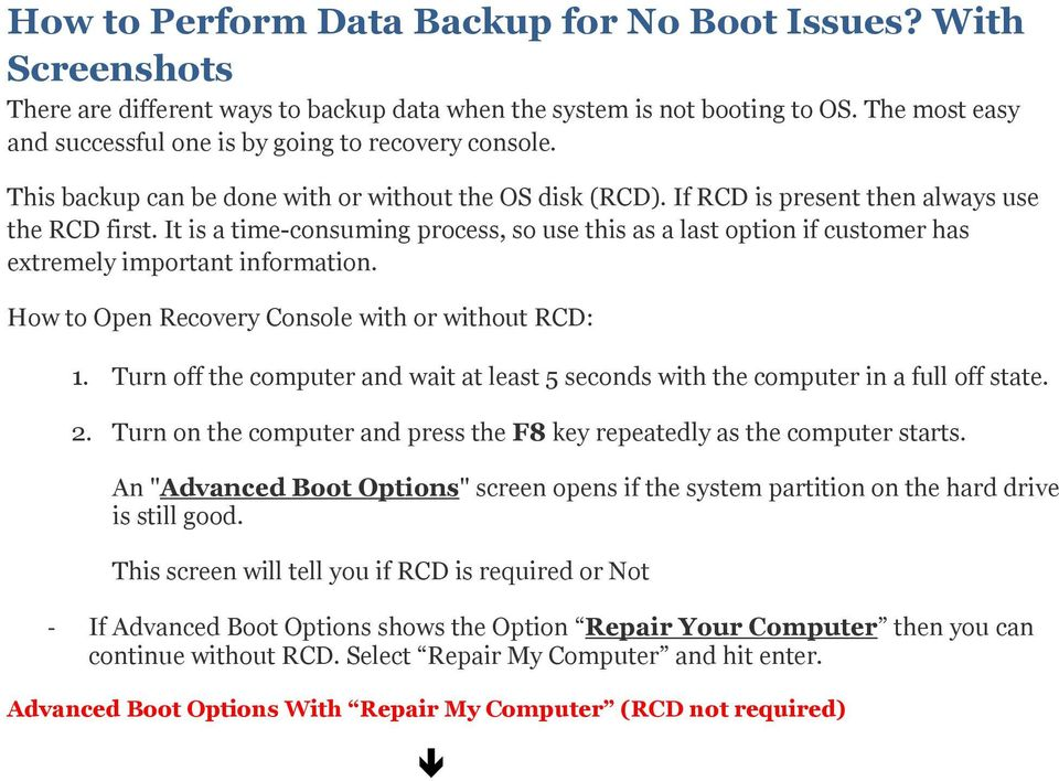 advanced boot options has no repair your computer